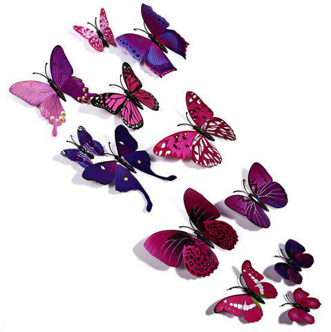 Discount 12 pcs 3D Butterfly Wall Stickers Art Decor Decals - PURPLE  Mobile