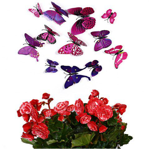 Outfits 12 pcs 3D Butterfly Wall Stickers Art Decor Decals - PURPLE  Mobile