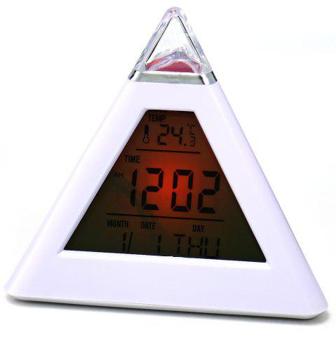 Discount Pyramid Style Color Changing LED Digital Alarm Clock Thermometer Mode Calendar Display - WHITE  Mobile