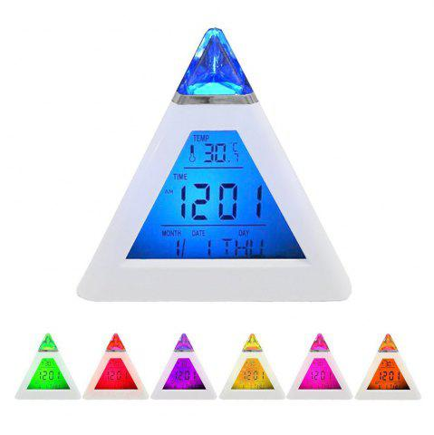 Outfits Pyramid Style Color Changing LED Digital Alarm Clock Thermometer Mode Calendar Display - WHITE  Mobile
