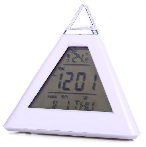 Cheap Pyramid Style Color Changing LED Digital Alarm Clock Thermometer Mode Calendar Display - WHITE  Mobile