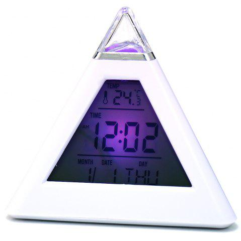 Chic Pyramid Style Color Changing LED Digital Alarm Clock Thermometer Mode Calendar Display - WHITE  Mobile