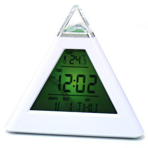 Sale Pyramid Style Color Changing LED Digital Alarm Clock Thermometer Mode Calendar Display - WHITE  Mobile