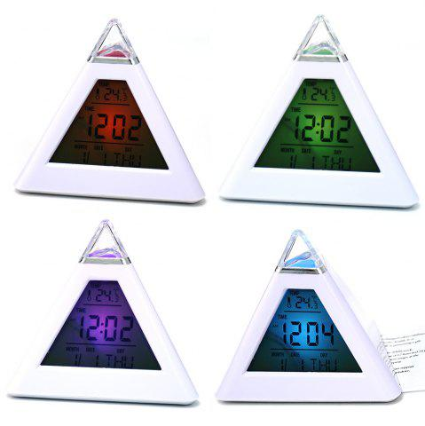 New Pyramid Style Color Changing LED Digital Alarm Clock Thermometer Mode Calendar Display - WHITE  Mobile