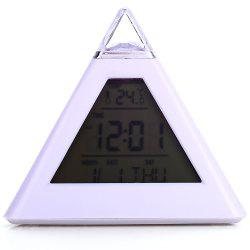 Pyramid Style Color Changing LED Digital Alarm Clock Thermometer Mode Calendar Display