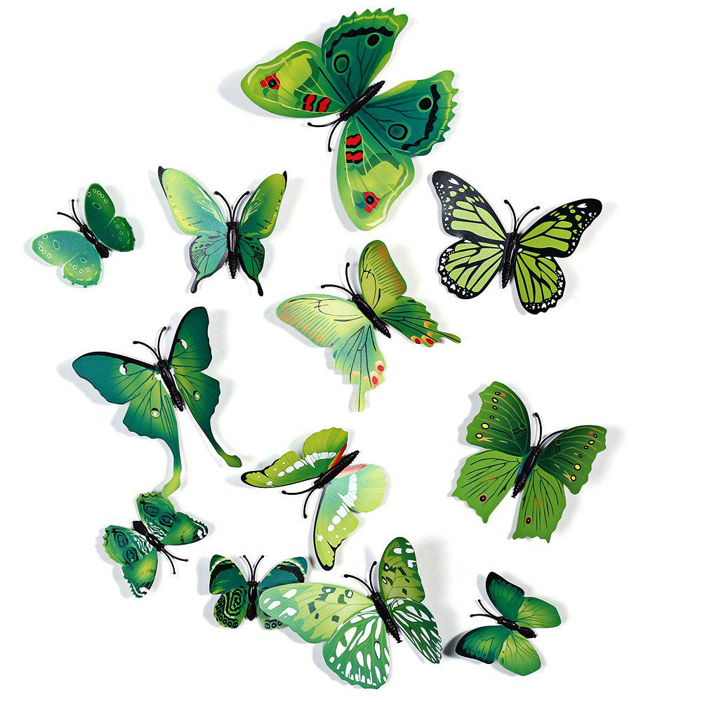 12 pcs 3D Butterfly Wall Stickers Art Decor DecalsHOME<br><br>Color: GREEN; Category: 3D Butterfly Wall Stickers; Style: Others; Material: Plastic;