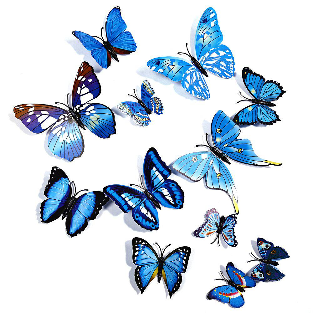 12 pcs 3D Butterfly Wall Stickers Art Decor DecalsHOME<br><br>Color: BLUE; Category: 3D Butterfly Wall Stickers; Style: Others; Material: Plastic;