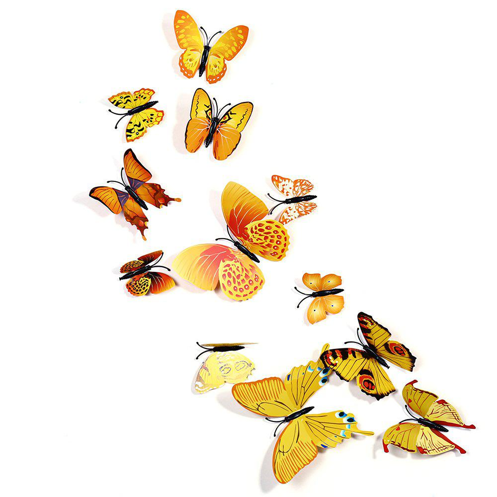 12 pcs 3D Butterfly Wall Stickers Art Decor DecalsHOME<br><br>Color: YELLOW; Category: 3D Butterfly Wall Stickers; Style: Others; Material: Plastic;