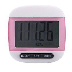 667 Square-shaped Electrical Pedometer with Large LCD Screen / Waist Clip - PINK
