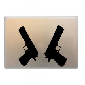 2PCS Pistol Style Notebook Sticker Creative Computer Decorative Paster - Black