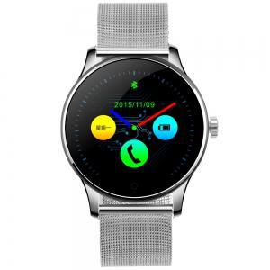 K88H MTK2502 Bluetooth Smart Watch Heart Rate Track Wristwatch - BLACK STAINLESS STEEL BAND