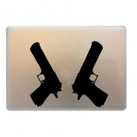 Best 2PCS Pistol Style Notebook Sticker Creative Computer Decorative Paster - BLACK  Mobile