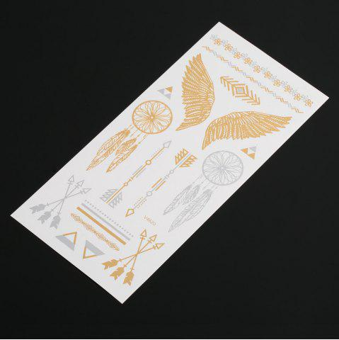 Sale 3D Metal Arrow Pattern Temporary Tattoos Stickers - GOLD  Mobile