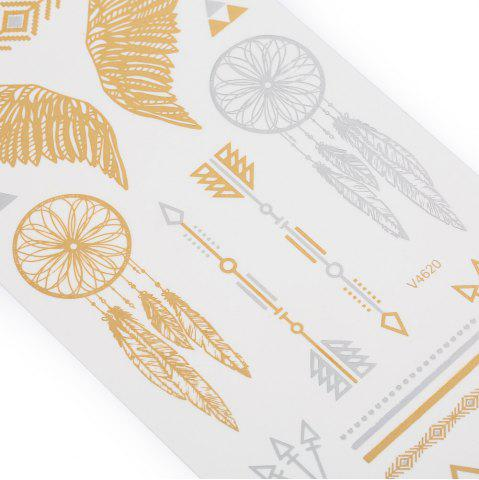 Discount 3D Metal Arrow Pattern Temporary Tattoos Stickers - GOLD  Mobile