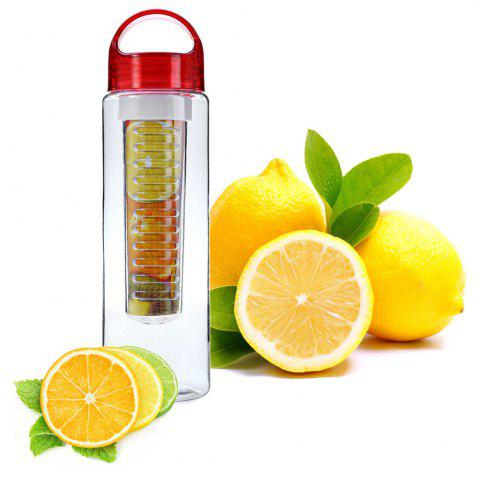 Sale 700ML Colorful Fruit Juice Infusing Infuser Sport Health Lemon Bottle - RED  Mobile