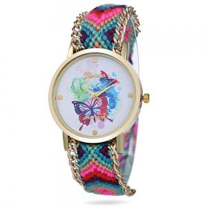 Geneva Butterfly Face Women Quartz Watch with Golden Case - Blue And Pink - One-size