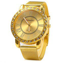 JUBAOLI Men Diamond Quartz Watch with Steel Net Strap - GOLDEN