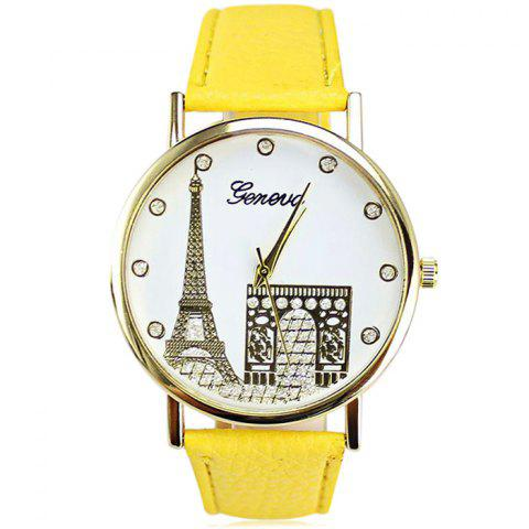 Geneva Women Diamond Quartz Watch with Golden Case - Yellow
