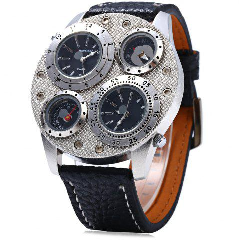 Discount Shiweibao 1145 Double Movt Men Quartz Wrist Watch Leather Band