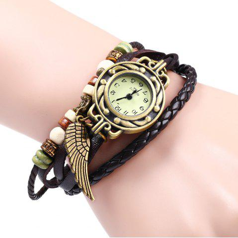 Buy Quartz Watch with Wing Design Round Dial and Leather Watch Band for Women
