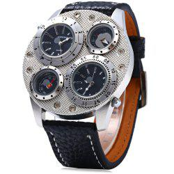 Shiweibao 1145 Double Movt Men Quartz Wrist Watch Leather Band -