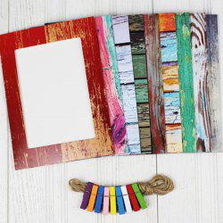 9Pcs Creative 7 inch Wood Grain Style Wall Paper Photo Frame Set Home Decor with Clips / Rope - COLORMIX