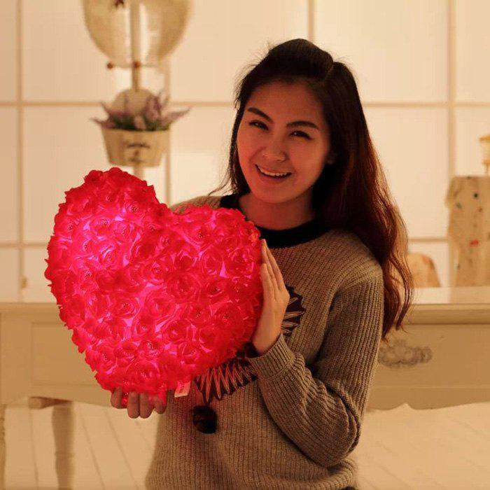 New 42cm Rose Love Stuffed Bolster with 5min Recording Soft Light and Music Lovely Bed Accompany