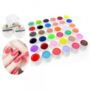 36 Pure Colors Pots Bling Cover UV Gel Nail Art Tips Extension Manicure for Girls - AS THE PICTURE