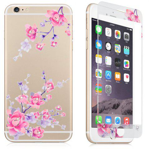 LIGHT PURPLE Angibabe 2 in 1 Tepmered Glass Screen Film Back Protector for iPhone 6 Plus   6S Plus Flower