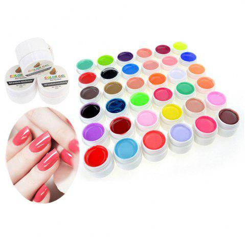 Online 36 Pure Colors Pots Bling Cover UV Gel Nail Art Tips Extension Manicure for Girls - AS THE PICTURE  Mobile