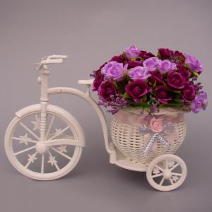 Plastic Tricycle Bike Shape Flower Basket Storage Container Party Decor - White
