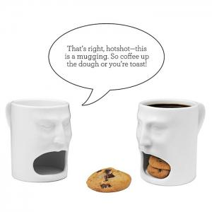 Creative Face Style Ceramic Biscuit Mug Decorative Cookie Cup for Milk Dessert - WHITE