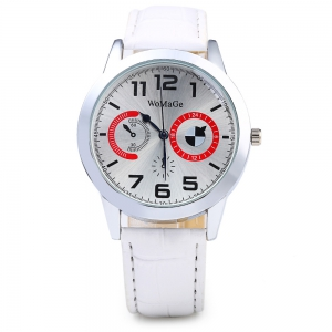 Womage 1248 Leather Band Men Quartz Watch -