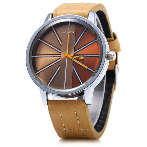 Unique ROSIVGA 257 Leather Strap Men Quartz Watch BROWN