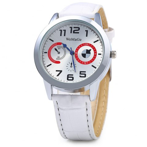 Online Womage 1248 Leather Band Men Quartz Watch