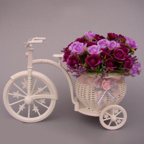 Plastic Tricycle Bike Shape Flower Basket Stockage Container Party Decor Blanc