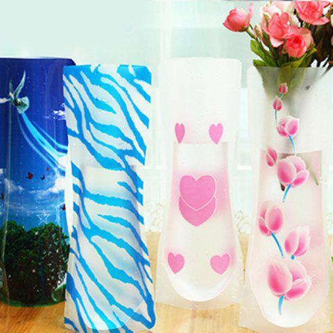 Chic DIY Foldable PVC Vase Home Decoration Flowers Jardiniere - RANDOM COLOR  Mobile