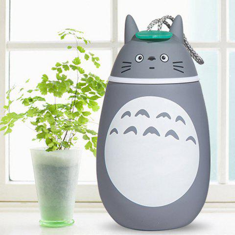 Latest Cute Totoro Shape Vacuum Water Cup Portable Stainless Steel Thermoses - 280ml - PATTERN 1 GREY AND WHITE Mobile