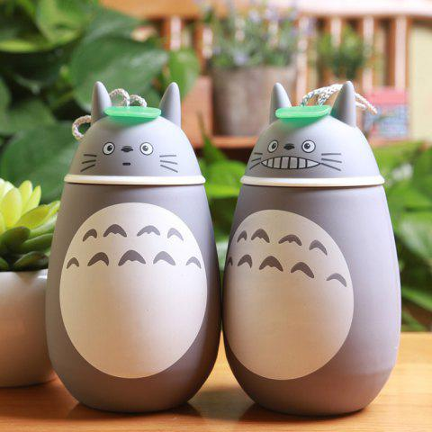 Outfits Cute Totoro Shape Vacuum Water Cup Portable Stainless Steel Thermoses - 280ml - PATTERN 1 GREY AND WHITE Mobile