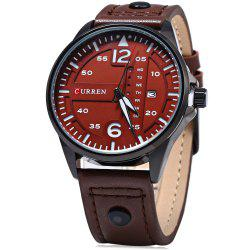 Curren 8224 Men Quartz Watch with Day Date Display - BROWN