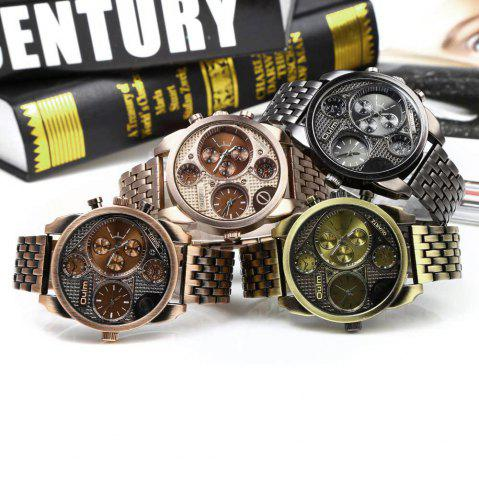 Sale Oulm Unique Waterproof Quartz Watch with Double Movt Analog Indicate Steel Watchband for Men -   Mobile