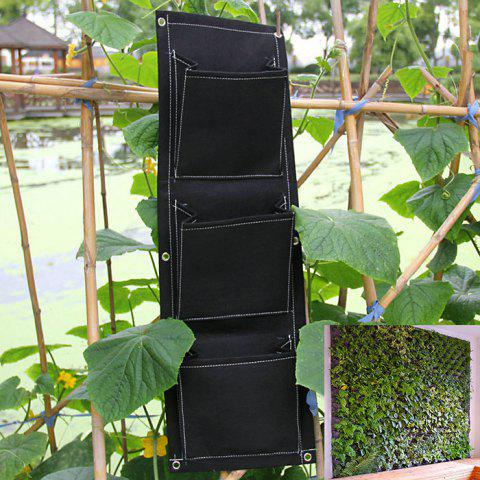 Outfit 3 Pockets Wall Hanging Planter Bags Planting Grow Bag Indoor Outdoor - BLACK GREY  Mobile