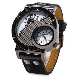 Oulm Men's Quartz Cool Military Wrist Watch Dual Movt Round Shaped Leather Band -
