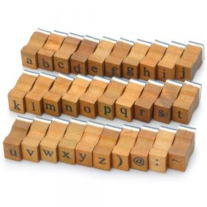 Retro Style Alphabet Number Pattern Wooden Stamp Set -