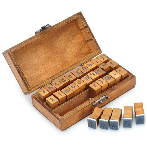 Cheap Retro Style Alphabet Number Pattern Wooden Stamp Set