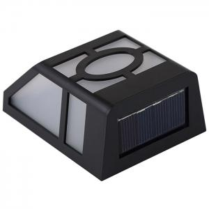 Wall Mount Mission Style Solar Deck Accent Lights Warm White Lawn Lamp - BLACK