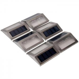 6PCS Solar Powered Stairways Path Lamp Wireless Staircase Step Stair Light - SILVER