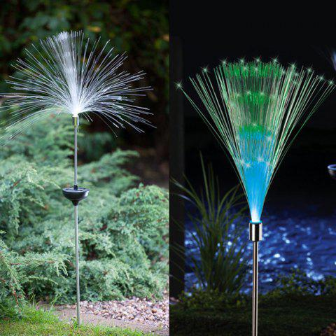 Latest 2PCS Solar Power Fiber Garden Stake Light Color Changing Decorative Path Lamp - WHITE  Mobile