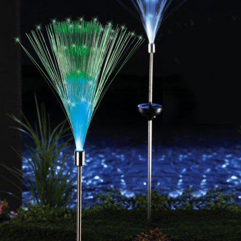 Chic 2PCS Solar Power Fiber Garden Stake Light Color Changing Decorative Path Lamp - WHITE  Mobile