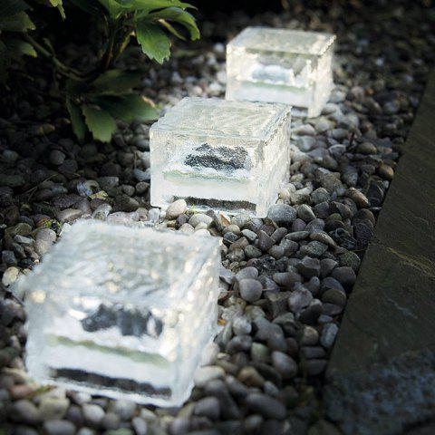 Fashion Solar Power Ice Brick Shape Crystal LED Light Glass White Path Lamp for Outdoor Yard Garden Deck Road - TRANSPARENT  Mobile